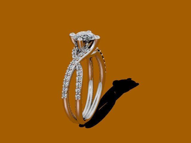 14K White Gold Diamond Engagement Ring with 1.20ct Round White Sapphire Ctr - V1007