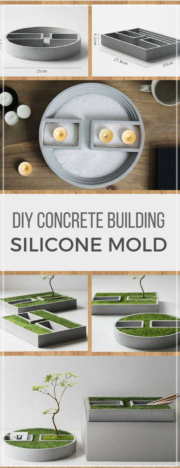 Gorgeous small concrete building flowerpot silicone molds. I love the modern and unique design. I would definitely use them as candle holders too on my office desk. #ad #concrete #siliconemold #mold #cement #flowerpot #candleholder #deskdecor #officedecor #homedecor #building #modern #geometrical