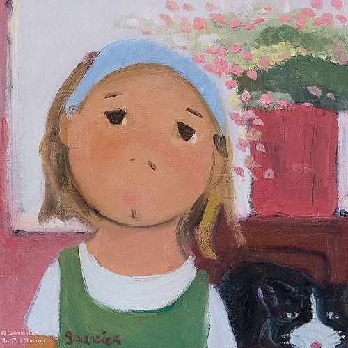 Guylène Saucier, 'Chat perché', 10'' x 10'' | Galerie d'art - Au P'tit Bonheur - Art Gallery