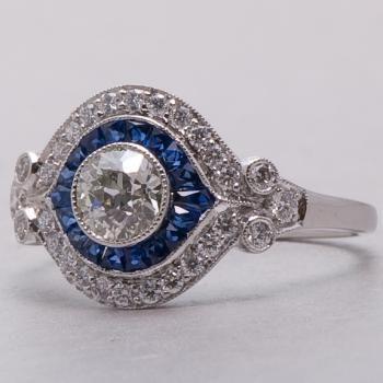 Estate Art Deco Diamond Sapphire Engagement Ring