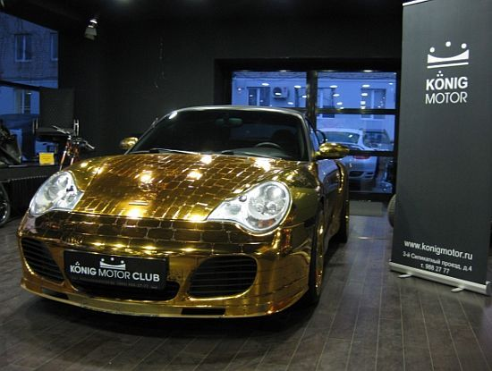 Now we're talking.... vrooooo  Porsche 996 Turbo Cabriolet Gold Plated Edition  Only $434,594  :)