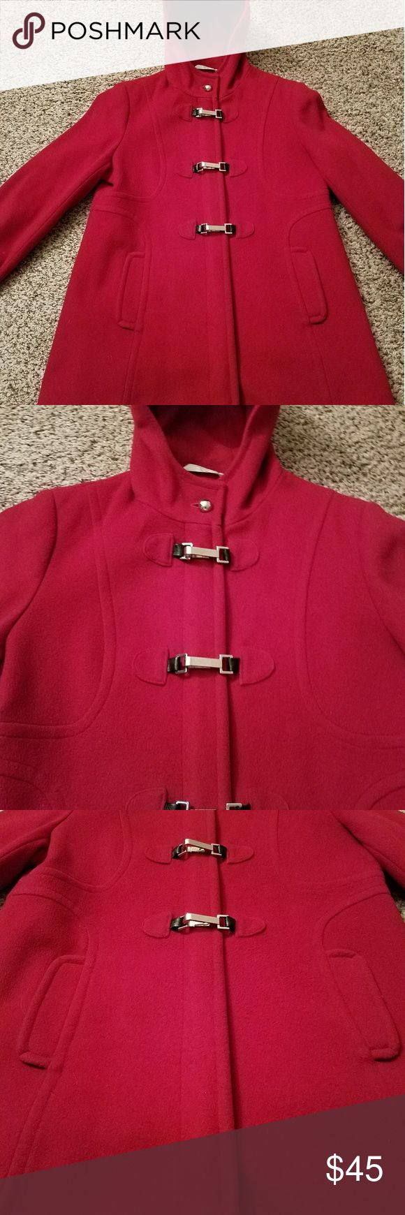 🌷🌷🌷LARRY LEVINE WOOL COAT 🌷🌷🌷 🌷🌷🌷BEAUTIFUL RED LARRY LEVINE WOMEN'S WOOL COAT. GENTLY WORN ONLY HANDFUL OF TIMES. IN GORGEOUS CONDITION. RED COLOR WITH FULL ZIP UP FRONT. ALSO HAS SILVER BUCKLE CLOSES IN FRONT WITH BLACK ACCENTS. SILVER BUTTONS ON SLEEVES AND TOP OF NECK CLOSURE. ZIPPER FULLY WORKS WITH NO. PROBLEMS. THIS IS A GREAT COAT TO KEEP WARM IN THE WINTER AND GO OUT IN STYLE. WILL MAKE ANY OUTFIT EXTRA CHIC AND CLASSY. FROM A SMOKE FREE AND PET FREE HOME. SIZE 14. Larry…