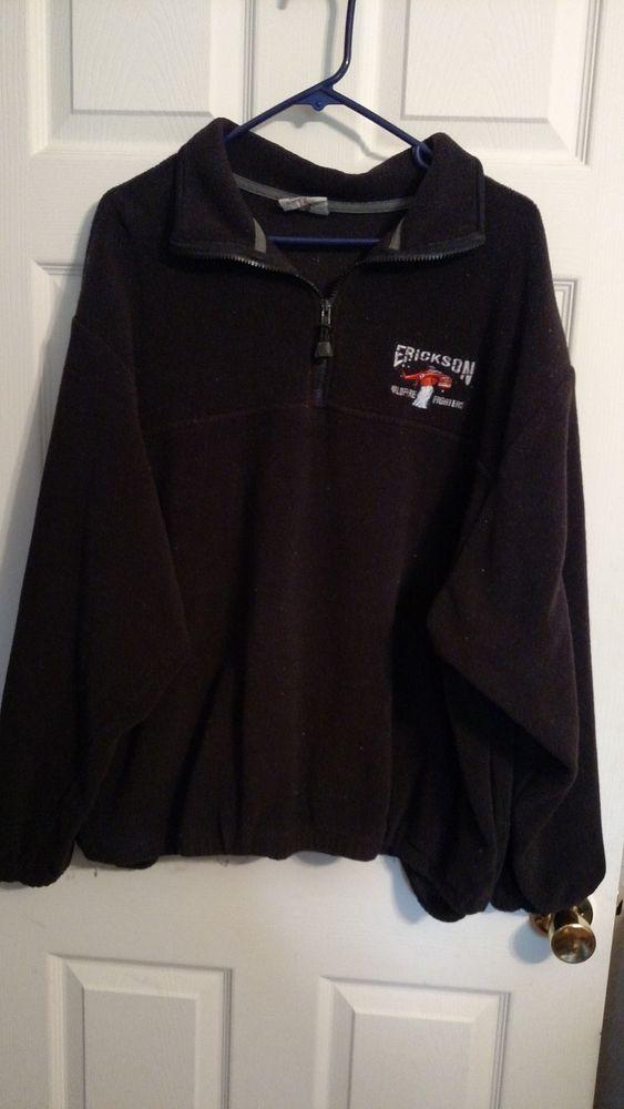 Timberline Erickson Air Crane Sweat Shirt Wildfire Fighters Black 1/4 Zip SZ 2X #Timberline