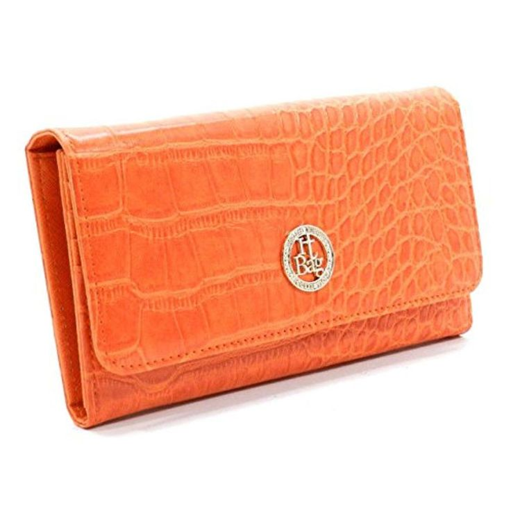 New IT by Alba Croc Embossed, Multi Card Organizer Wallet- Orange - Brought to you by Avarsha.com