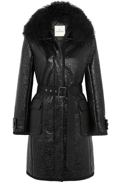Moncler - Noemie Shearling-trimmed Patent Cotton-blend Down Coat - Black -