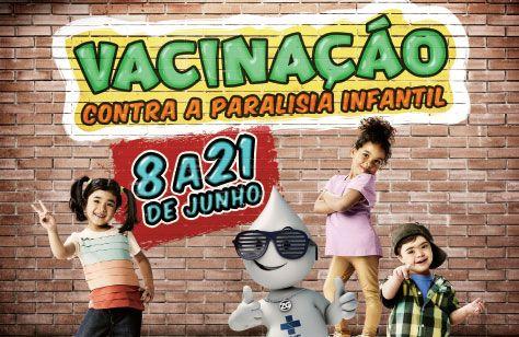 A Campanha Nacional de Vacinação Contra Paralisia Infantil terá início neste sábado, dia 8/06. Veja os locais de vacinação.