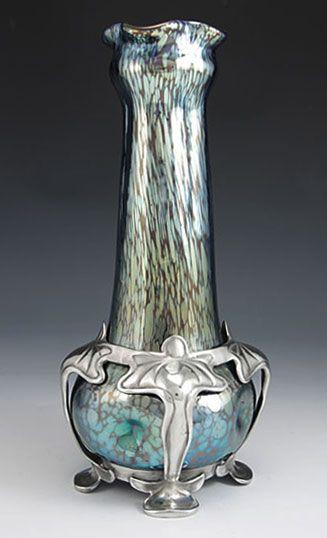 Loetz & Van Hauten Iridescent glass vase in the Papillon decor with polished pewter Art Nouveau mount by Van Hauten.  Austria, c.1905