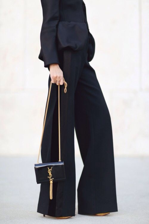 Wide leg trousers & petite tassel bag by YSL - chic style, outfit inspiration