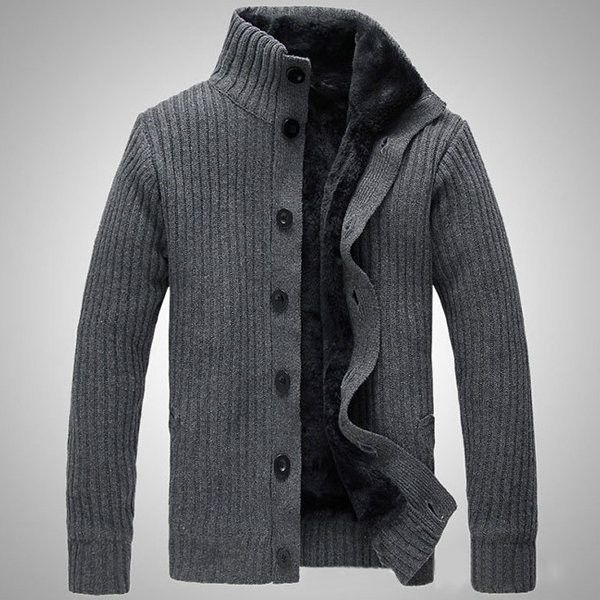 Mens Winter Casual Extra Fleece Thick Sweater Solid Color Cardigan ($48) ❤ liked on Polyvore featuring men's fashion, men's clothing, men's sweaters, mens shawl collar sweater, mens fleece sweaters, mens cardigan sweater, mens sweaters and mens shawl collar cardigan sweater
