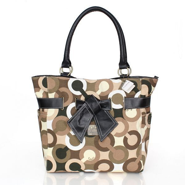 coach poppy handbags outlet 9t1e  Coach Poppy Bowknot Monogram Medium Brown Totes CDE Outlet Online