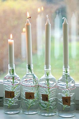 love thisPlain Candles, White Christmas, Advent Calendar, Christmas Candles, Glasses Bottle, Christmas Decor, Advent Candles, Recycle Bottle, Advent Wreaths