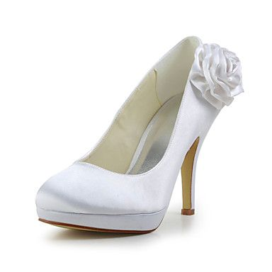 Elegant Satin Stiletto Heel Pumps with Flower Wedding/Party/Evening Shoes(More Colors) – USD $ 53.99