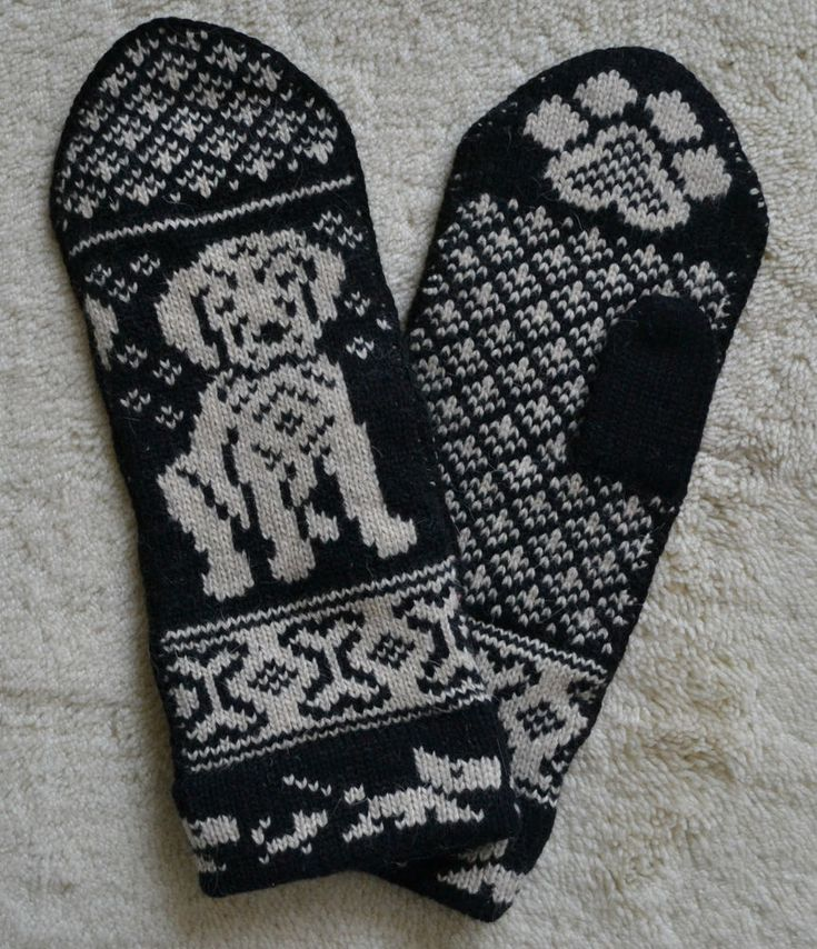 HAND CRAFTED 100% WOOL MITTENS, GOLDEN RETRIEVER / LABRADOR PUPPY DOG, Fair Isle