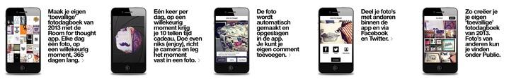 Leuke app! ROOM for thought: maak je eigen toevallige fotoboek. 1x per dag 10 sec de tijd om een willekeurige foto te maken