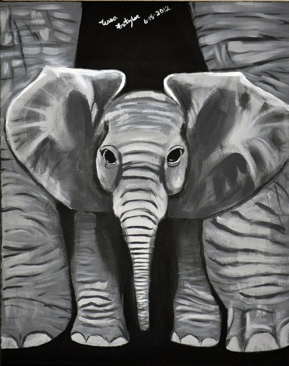 Baby Elephant Original Painting 16x20 by MemoriesByTessa on Etsy, $300.00  Use coupon code HOLIDAY for 25% off