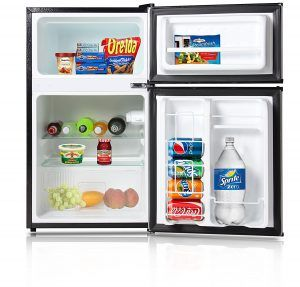 "Best Mini Fridge Review no. 3. Avalon By Keyton A1-31CFDDBLK Refrigerator And Freezer With Double Doors. This unit is an inch taller than the Haier, at 35 inches high, so whether you'd still call it a ""mini"" fridge is up to you. We call it a terrific small refrigerator/freezer (if you have room for it) and worth the #3 ranking on our best mini fridge top 5 list."