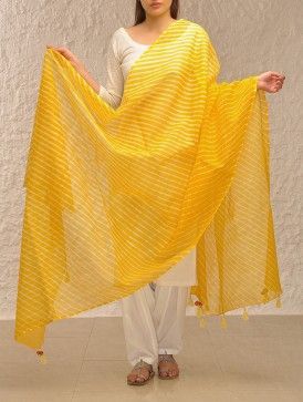 Yellow Kota Cotton Leheriya Dupatta