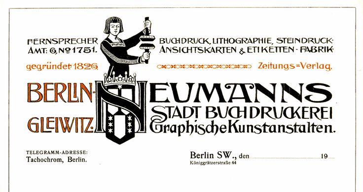 Berlin Gleiwitz, Briefkopf Druckerei 1910