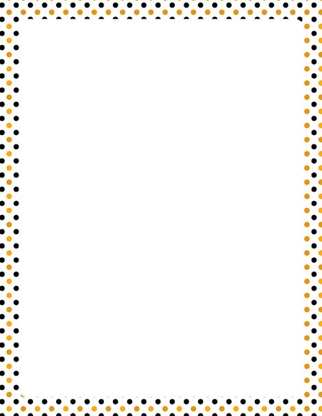 Printable Halloween polka dot border. Free GIF, JPG, PDF, and PNG downloads at http://pageborders.org/download/halloween-polka-dot-border/. EPS and AI versions are also available.