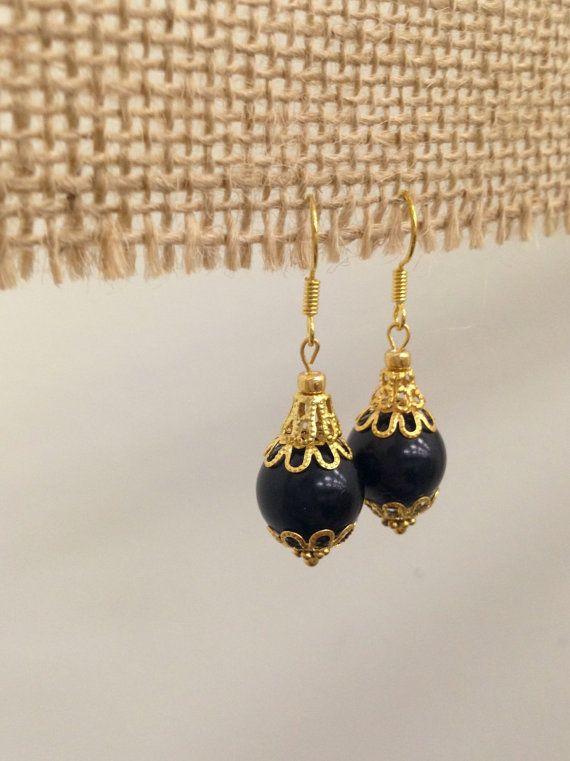 Black Pearl Drop Earrings by SCBoutique123 on Etsy