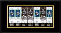 2011 NHL Stanley Cup Final Commemorative Tickets To History Framed Print - Boston Bruins - This Framed Ticket Strip Print features commemorative tickets from all 7 Stanley Cup Final games and include final scores for each game as well. Celebrate the Boston Bruins 2011 Stanley Cup Championship.  Overall Size: 22 (W) x 12 (H) x 3/4 (D).