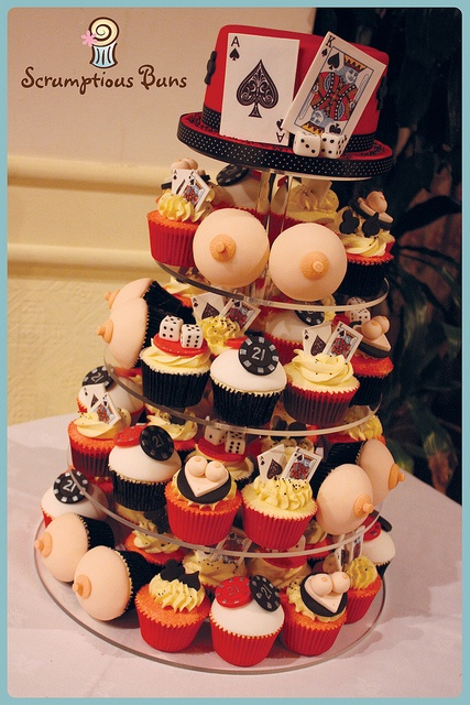 casino tower cupcakes, lol at the boobs!