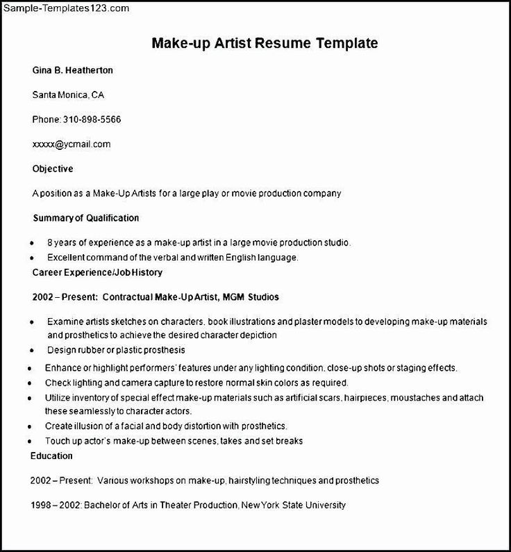 Freelance makeup artist resume inspirational resume for