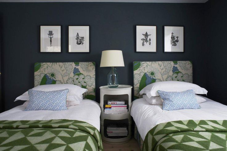 Paint Library Squid Ink flat emulsion, headboard fabric Carnival Linen in Green Michael Szell for for Christopher Farr