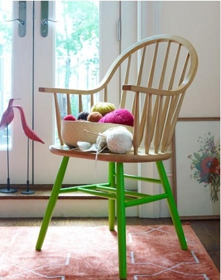 Even a regular looking chair like this one can be jazzed up with some bright paint.