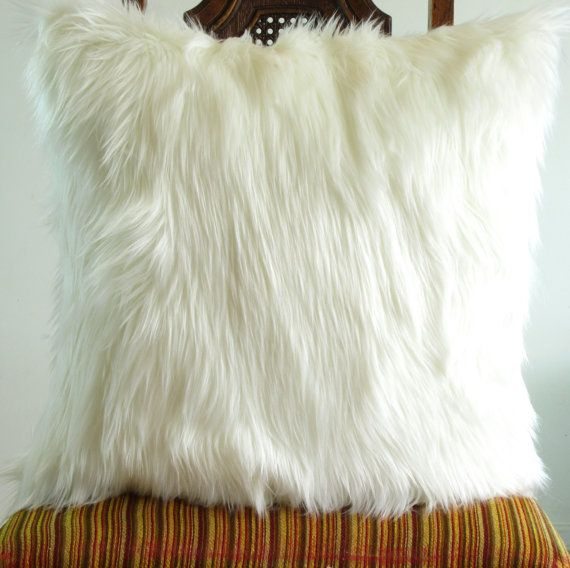 Ivory fur pillow throw cover14 X 14 fluffy white by VFIllustration, $17.99