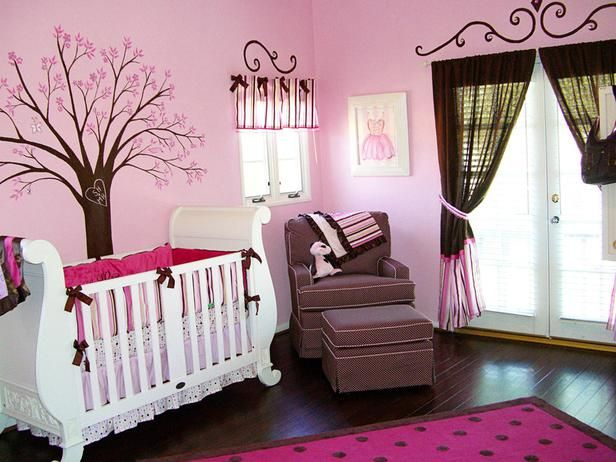 Pretty nursery in brown and pink! Love the cherry tree!