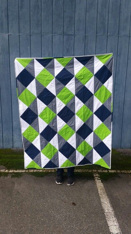 Seahawk Inspired Lap Quilt  Using Kona Cotton Solids  Tutorial from Love Modern Patchwork and Quilting  Green Blue and White by Maechen Marie http://etsy.me/2yQEkRr
