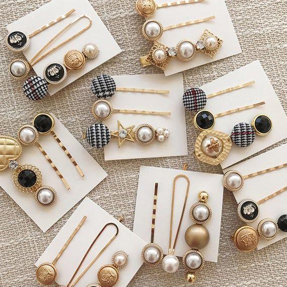 Perle Perlen Haarspange Set, Perle Haarnadel, Schaltfläche Haarnadel, Vintage Haarspange, Mädchen Haarnadeln, Haar Acc
