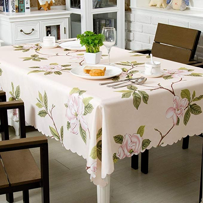 Ostepdecor 100 Polyester Floral Print Tablecloth Waterproof Decorative Table Top Cover For Kitchen Dining Table Top Covers Dining Room Accessories Table Cloth
