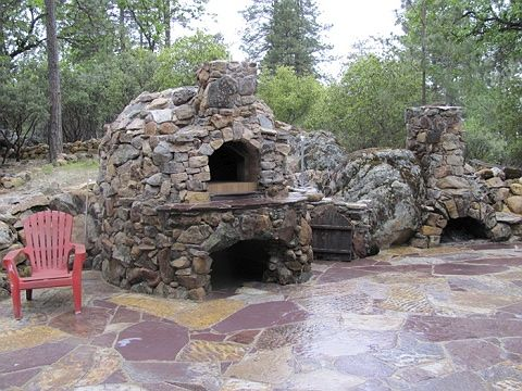 Rustic Stone Outdoor Pizza Or Bread Oven An Fireplace