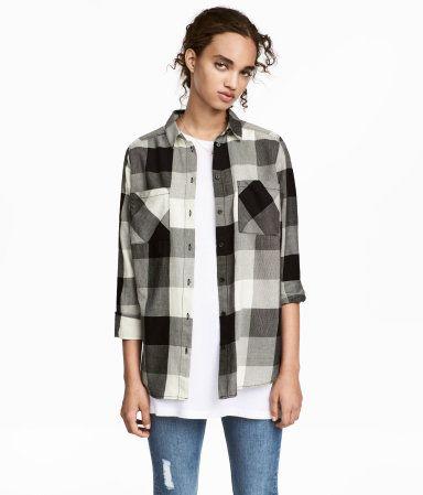 Pamuklu Gömlek | Siyah/Beyaz kareli | Kadin | H&M TR