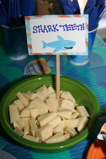 """Hostess with the Mostess® - Under the Sea First Birthday I could do """"alligator teeth"""" with a white cheese."""