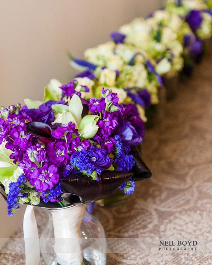 Purple & green wedding bouquets.