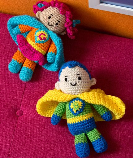 Boy and Girl Super Heroes Free Crochet Pattern from Red Heart Yarns