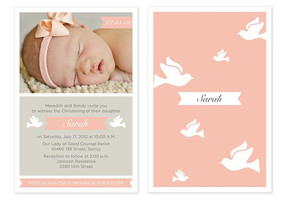 Baby Girl Baptism / Christening Invitation with by PAPERHEARTSbyJ, $15.00