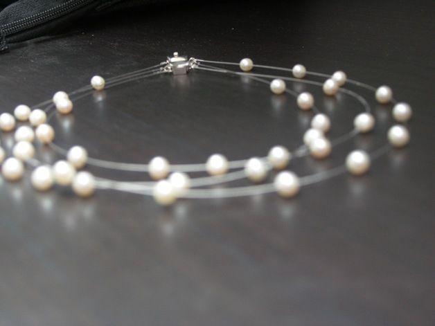 Perlenkette Brautschmuck echte Perlen Hochzeit 925