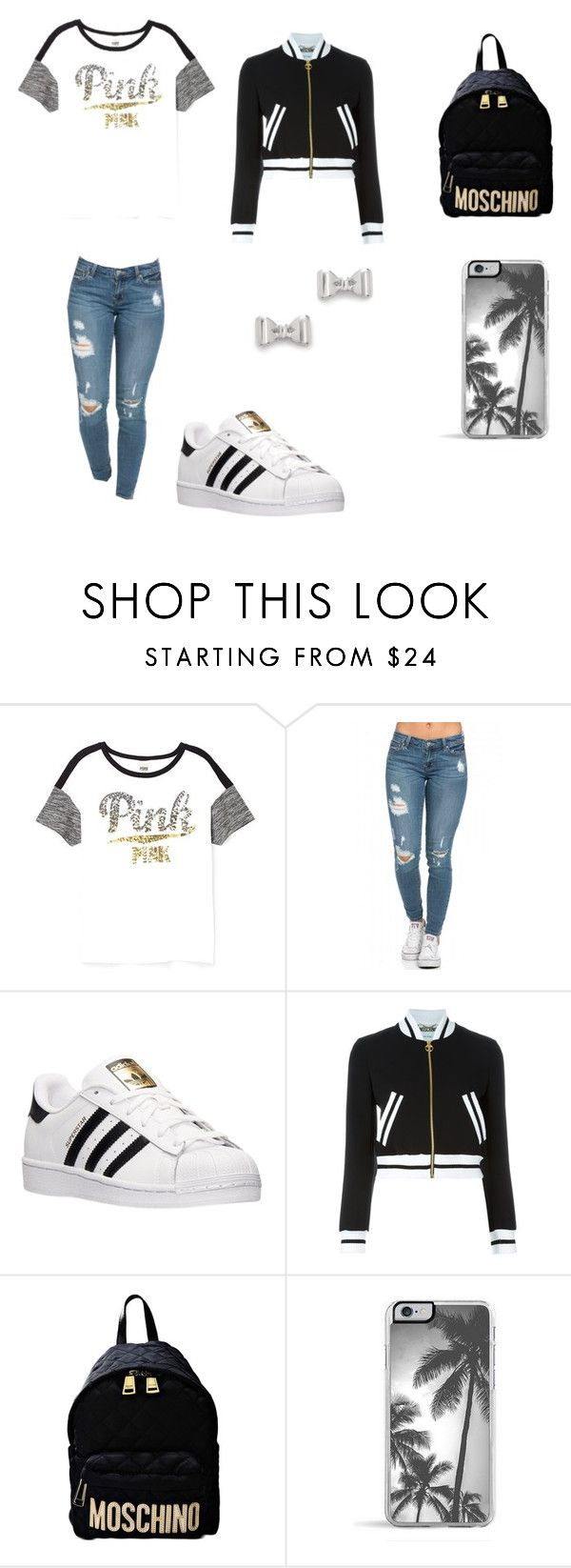 """""""School Outfit """" by prettymissmai ❤ liked on Polyvore featuring Victoria's Secret, adidas, Moschino, Zero Gravity, Marc by Marc Jacobs, women's clothing, women, female, woman and misses"""