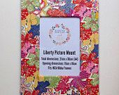 Liberty Art Fabric Picture Mount ~ Fits A4 Frame ~ Home Desk Decor Gift Wall Art ~ Bright Mauvey Print.  Shop Rhapsody and Thread via Etsy.