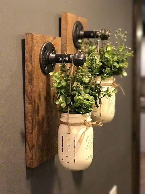 Industrial Wall Sconce, Mason Jar Wall Decor