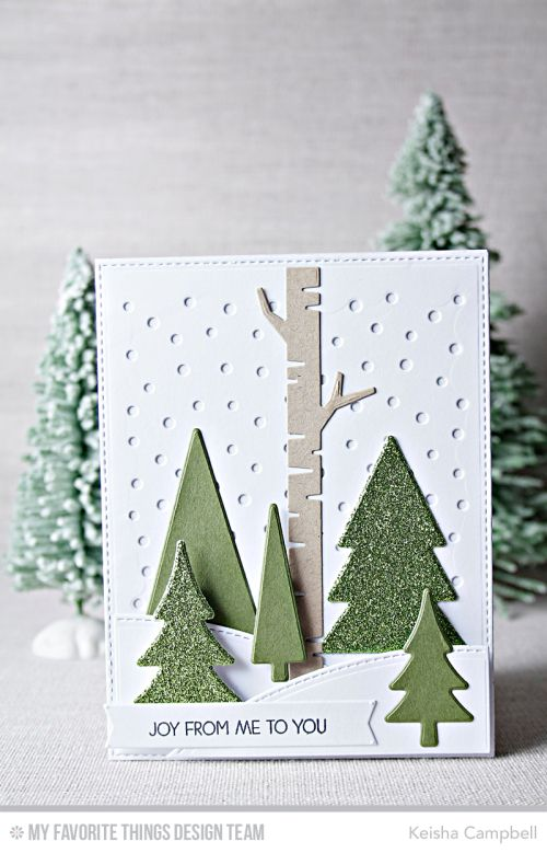 Oh Christmas Trees Die-namics, Snowfall - Vertical Die-namics, Merry Everything Stamp Set, Stitched Valley Die-namics, Birch Trees Die-namics - Keisha Campbell  #mftstamps