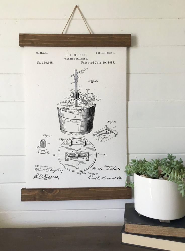 Laundry room decor/vintage washing machine patent print/canvas wall art/wall art/vintage art/farmhouse/industrial