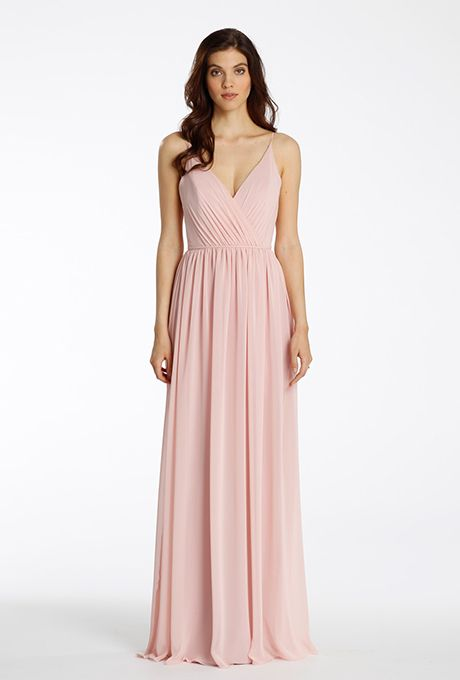 Brides.com: . Style 5564, rose chiffon A-line bridesmaid gown, V-neckline, draped bodice, natural waist with gathered skirt, V-strap detail at back, $250, Jim Hjelm Occasions