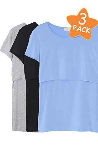 7957a8a0feaaf Smallshow Women's Maternity Nursing Tops Modal Comfy Short Sleeve Breastfeeding  Clothes at Amazon Women's Clothing store: