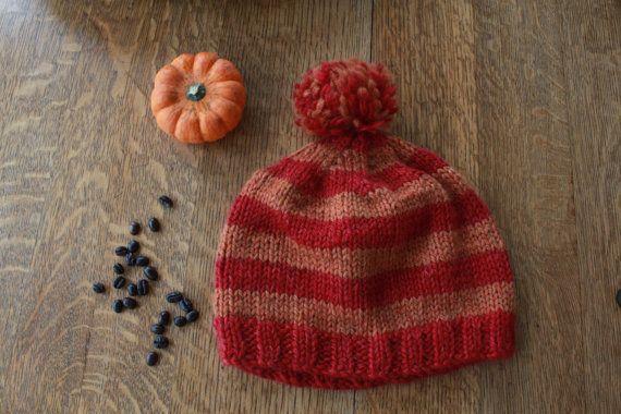 Red and Orange striped beanie  warm winter hat  by SoppyKnitsStuff