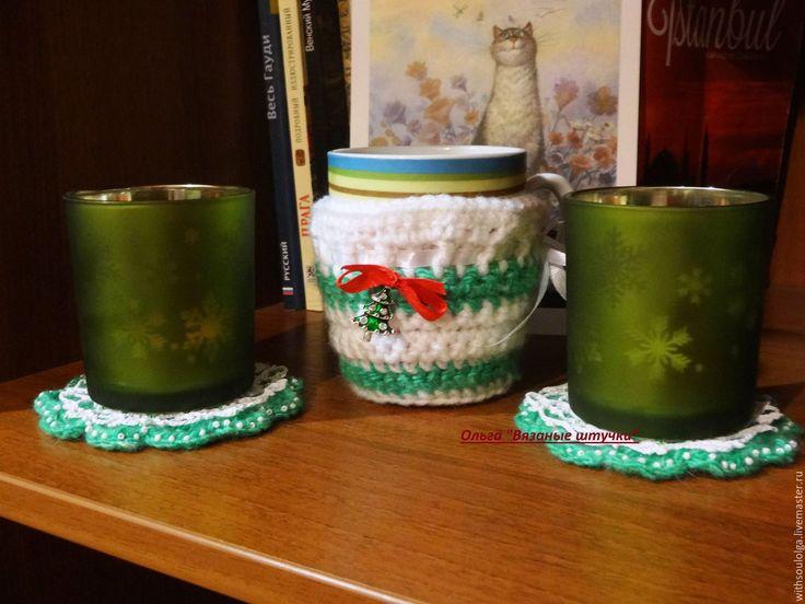 """Купить Набор """"Скоро новый год"""" (грелка на чашку,подставки под горячее) - зеленый, набор"""